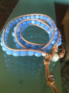 Chan Luu, genuine leather and light blue glass beads
