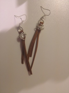 Earrings, pearl and faux suede, wire wrapped