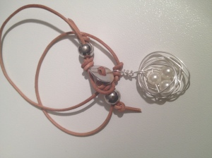 Genuine Leather necklace with nest pendant